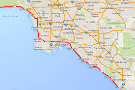 United States Driving Map by Pacific Coast Highway From Dana Point To Santa Monica
