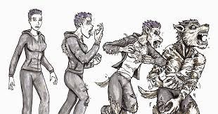 as fall leaves illustration werewolf transformation
