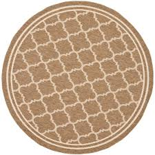 6 X 6 Round Area Rugs by Safavieh Courtyard Brown Bone 6 Ft 7 In X 6 Ft 7 In Indoor