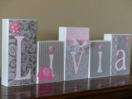 Decorative Letter Blocks For Home Gray And Pink Elephant Baby Name Block Letters Little Room