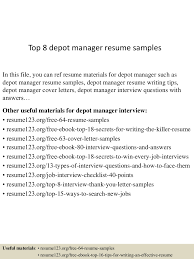 sample logistics manager resume top8depotmanagerresumesamples 150514055208 lva1 app6892 thumbnail 4 jpg cb 1431582776