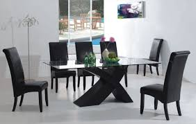 black dining room sets 7pc modern dining room set w black x shape legs glass top