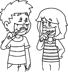 kids brushing teeth coloring page wecoloringpage