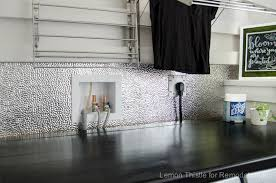 Remodelaholic How To Install A Metal Ceiling Tile Backsplash - Metal backsplash