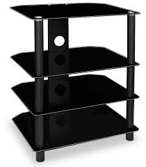 Small Component Cabinet Amazon Com Mount It Tv Media Stand Glass Shelves Audio Video