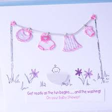 baby shower greeting card pink washing line baby shower host
