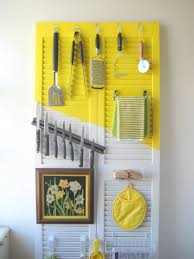 Yellow Kitchen Utensil Holder - design yellow and white stained wooden accent hanging rack