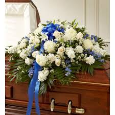 funeral casket accents of blue funeral casket spray to philippines casket spray