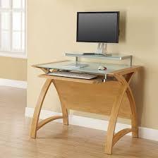 Small Desk Uk Cohen Curve Computer Desk Small In Milk White Glass Top And Oak