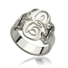 monogrammed silver ring fancy interlocking monogram silver ring jewelry