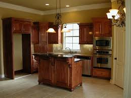 red oak floors with kitchen island shaker cabinets stainless steel