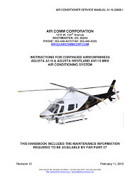 aircomm corporation cabin air conditioner a119 instructions for