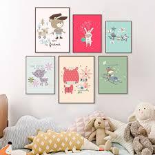 stickers animaux chambre b mignon de bande dessinée toile peinture stickers muraux pour
