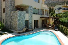 house of pool front yard luxury villa in greece for sale