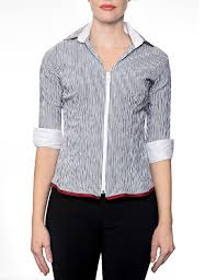 black and white striped blouse marilyn black and white stripe fitted blouse with zipper 3 4