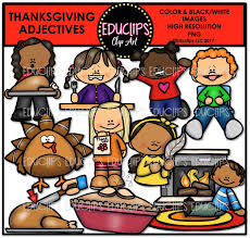 thanksgiving adjectives clip bundle color and b w welcome to