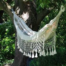 cream hammock large white tassel fringe long length