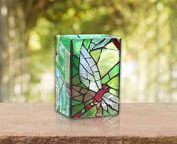 Stained Glass Vase Stained Glass Dragonfly Green Glass Mosaic Dragonfly Candle