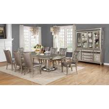 Double Pedestal Dining Room Table Danette Double Pedestal Dining Table Set In Metallic Platinum