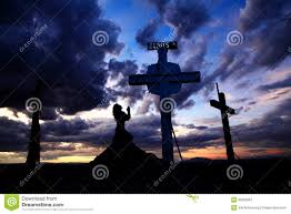 praying at cross in sunset stock image image of hill
