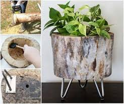 24 beautiful decorative wooden stump vases crafts for your household