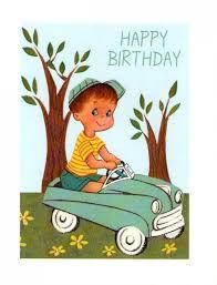 vintage boy in car happy birthday card a stationery and craft
