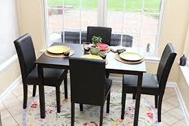 dining room leather chairs amazon com 5 pc black leather 4 person table and chairs brown