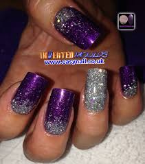 our deep purple acrylic with silver glitter fades by laura denton