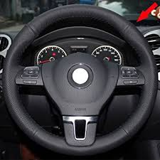 2012 Volkswagen Jetta Interior Amazon Com Eiseng Diy Genuine Leather Steering Wheel Cover For