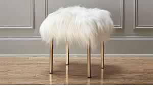 Fuzzy White Ottoman Fuzzy Sheepskin Stool In Ottomans Poufs Stools Reviews Cb2
