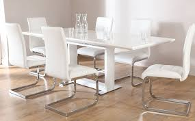 Tokyo White High Gloss Extending Dining Table And  Chairs Set - White dining room table set