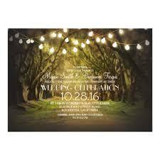 Wedding Tree String Of Lights Trees Path Rustic Wedding Invites Zazzle Com