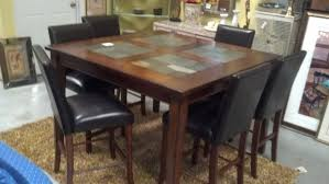 slate dining room table pub table with slate inserts and 6 chairs lowcountry