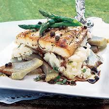 sea bream with artichokes and caper dressing recipe epicurious com