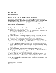 Examples Of Childcare Resumes by Child Care Assistant Job Description For Resume Resume For Your