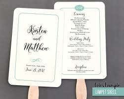 wedding program fan template simple border script wedding program fan cool colors