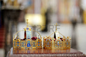 orthodox wedding crowns two orthodox wedding ceremonial crowns ready for ceremony stock
