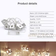 2 5m battery powered 10 house shape lighting string warm white