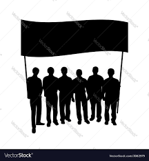 Flag People Group People With Flag Silhouette Royalty Free Vector Image