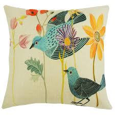 Stag Cushions Bluebird Bird U0026 Flowers Linen 18 Inch Cushion Cover