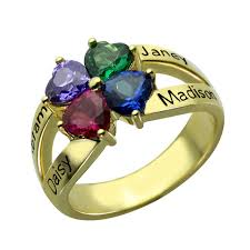 Initials Ring Aliexpress Com Buy Personalized Birthstones Names Ring Gold