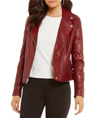 red leather motorcycle jacket women u0027s leather u0026 faux leather coats dillards