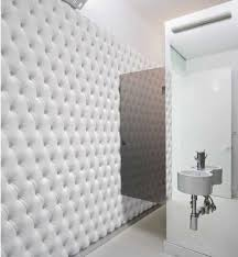Padded Walls by Interior Contemporary Bathroom Decoration Using Tufted White
