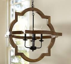 Pottery Barn Dining Room Lighting by Lighting Paloma Wood Chandelier Pottery Barn Quatrefoil Wood