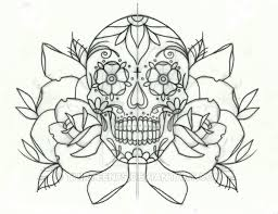 sugar candy skull and roses tattoo design by thirteen7s on deviantart