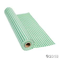 green table cover roll gingham plastic tablecloth roll