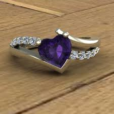 amethyst engagement ring custom by amethyst ring purple heart diamonds asymmetrical 14k
