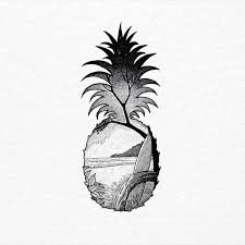drawn pineapple beach pencil and in color drawn pineapple beach