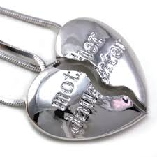 mothers day jewelry ideas best friends forever bff heart two pendant