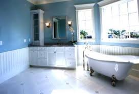 Blue Bathroom Vanity Cabinet Bathroom Traditional Claw Foot Bath Tub In Blue And White Color